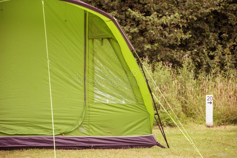 A single tent in a field. Near Bristol, England royalty free stock photography