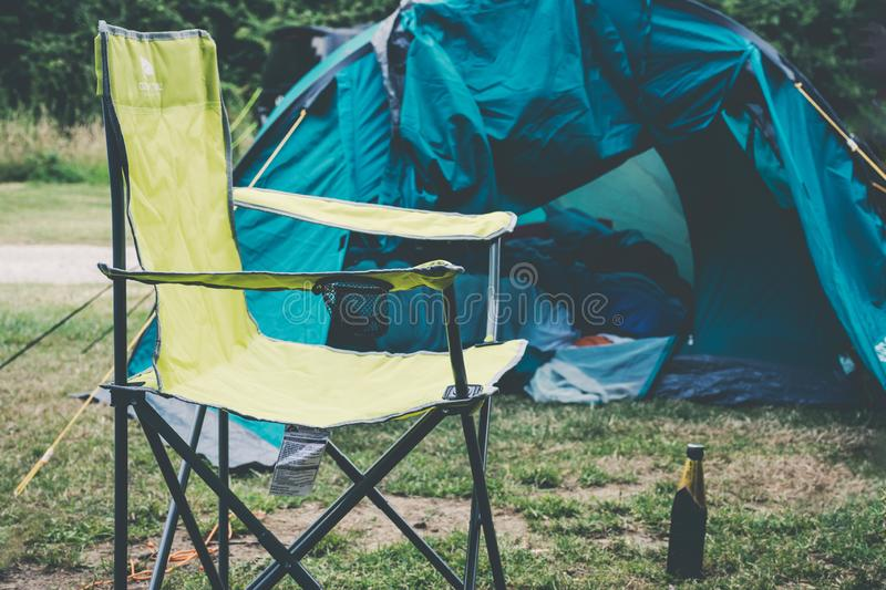 A single tent in a field. Near Bristol, England royalty free stock photos