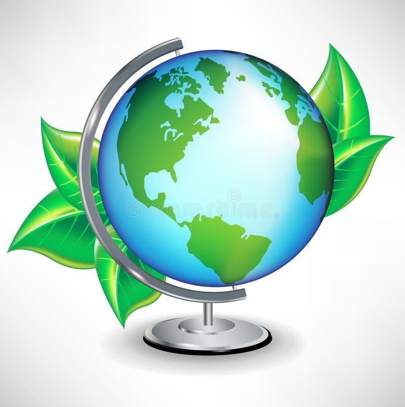 Single terrestrial school globe with leaves royalty free illustration