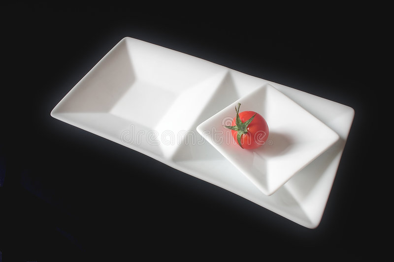 Download Single Tomato On Squared Dishes Stock Image - Image of recepit, chef: 34075