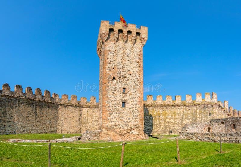 single tower castle ruin in Este , Padua province , Veneto region Italy stock photos
