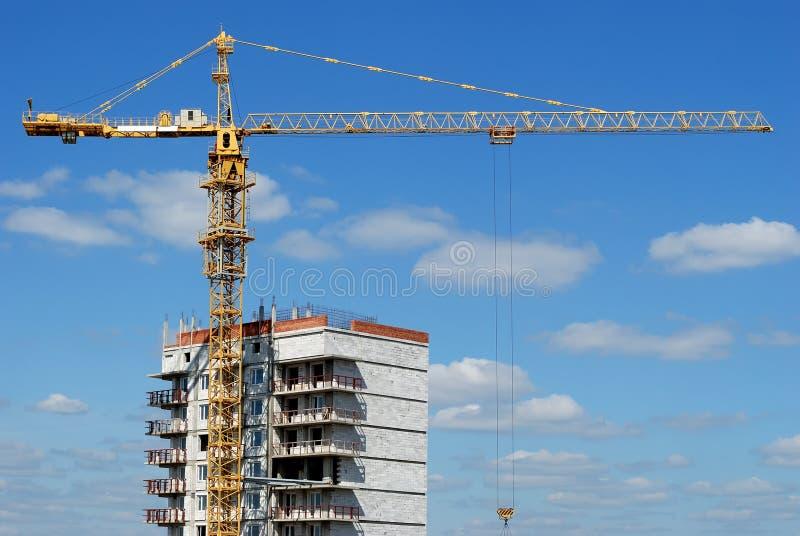 Single tower column crane loader stock image