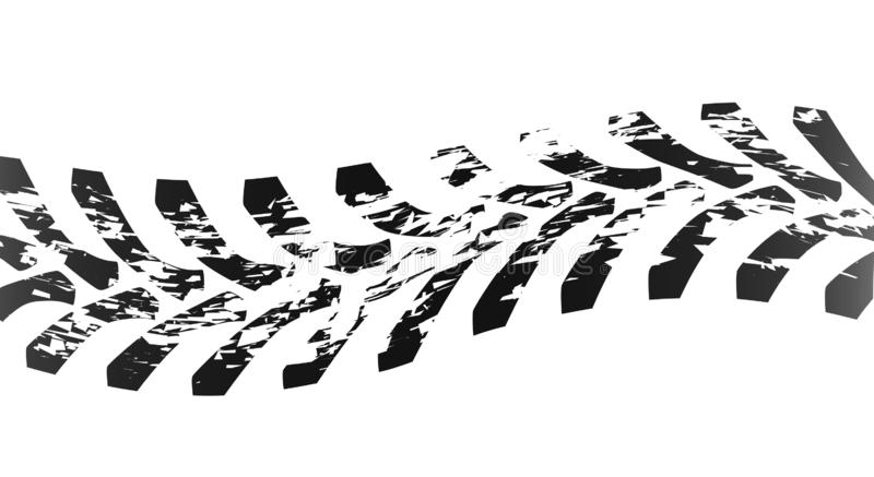 Single Tractor Tyre Mark. Tractor tyre marks isolated over a white background stock illustration