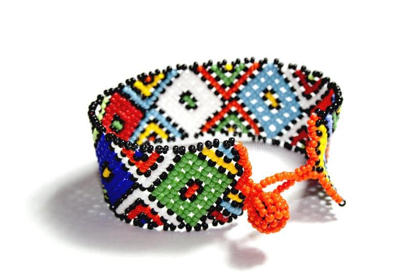 Single Traditional Bright Beadwork Zulu Bracelet. Isolated single traditional brigh beadwork zulu bracelet stock images