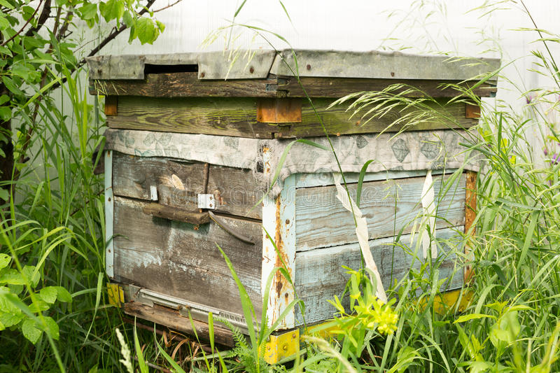 Single Traditional Wooden Beehive. Single Russian wooden beehive in a village garden royalty free stock images