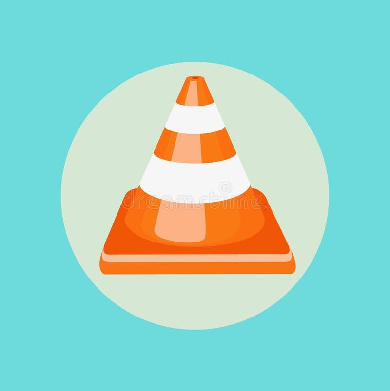 Single traffic cone flat design vector royalty free illustration