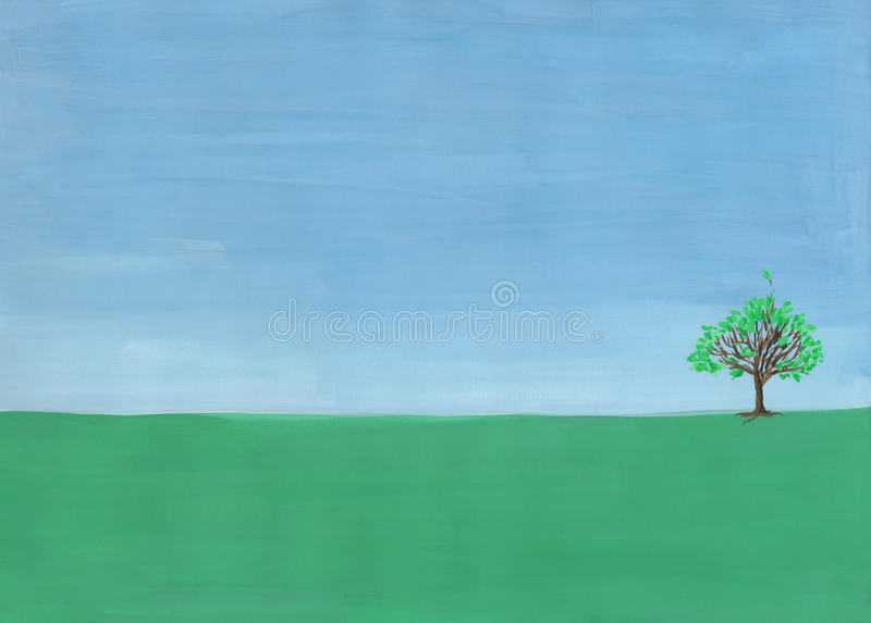 Single tree. On the horizon in the field. Painting in gouache on paper stock illustration