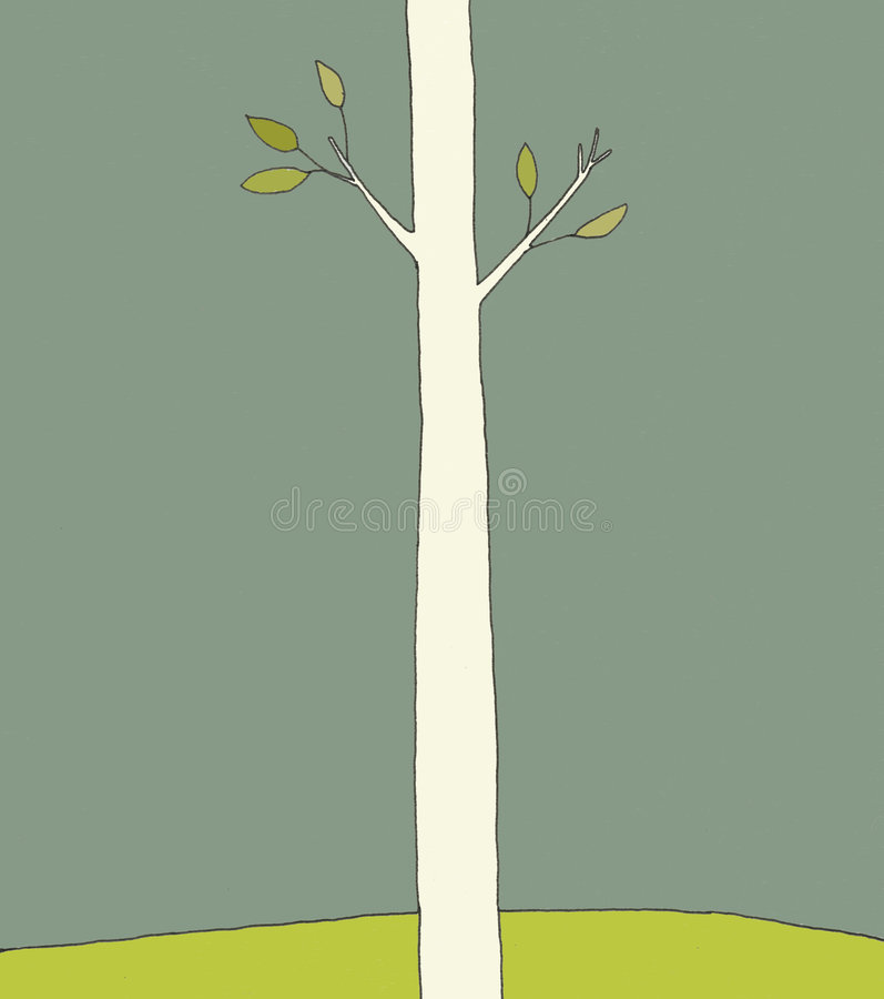 Single Tree. A single tree stands on a hill in the spring time with green leaves on its branches stock illustration
