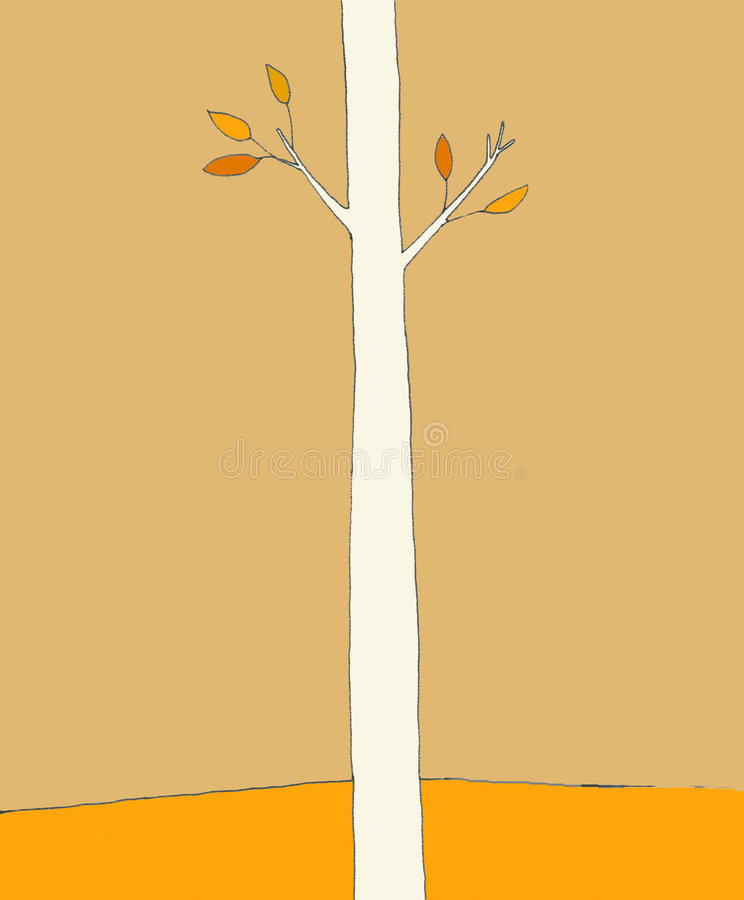 Single Tree in Autumn. A Single Tree in the Park in the Autumn with leaves on its branches vector illustration