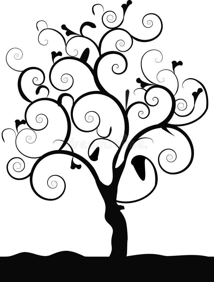 Single tree black. A single tree with lots of swirls vector illustration