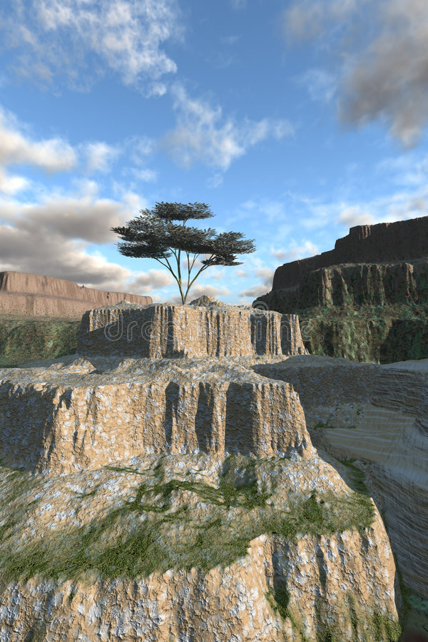 Single Tree on Canyon Ledge. Single tree on rocky canyon ledge with surreal sky is nature concept illustration showing green recovery in an impossible harsh vector illustration