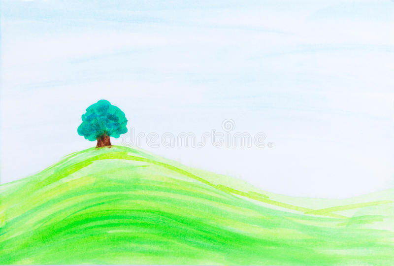 Single tree on green hill under blue sky. Watercolor design with stylized. Art is created and painted by photographer royalty free illustration