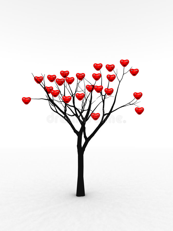 Single Tree With Love 10 vector illustration