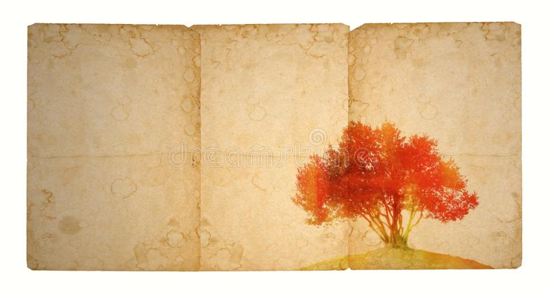 Single tree in red tones on ancient stained paper. With copy space. stock photos