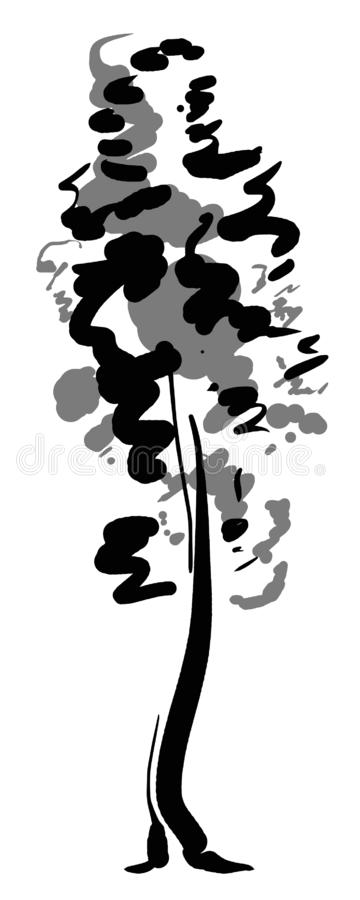 Single tree sketch. Black and white drawing isolated on white background. Simple art. Can be used for card banner stock illustration