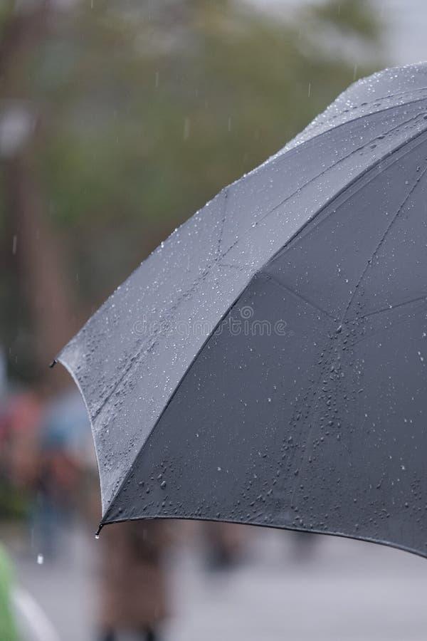 Single umbrella in heavy rain royalty free stock images