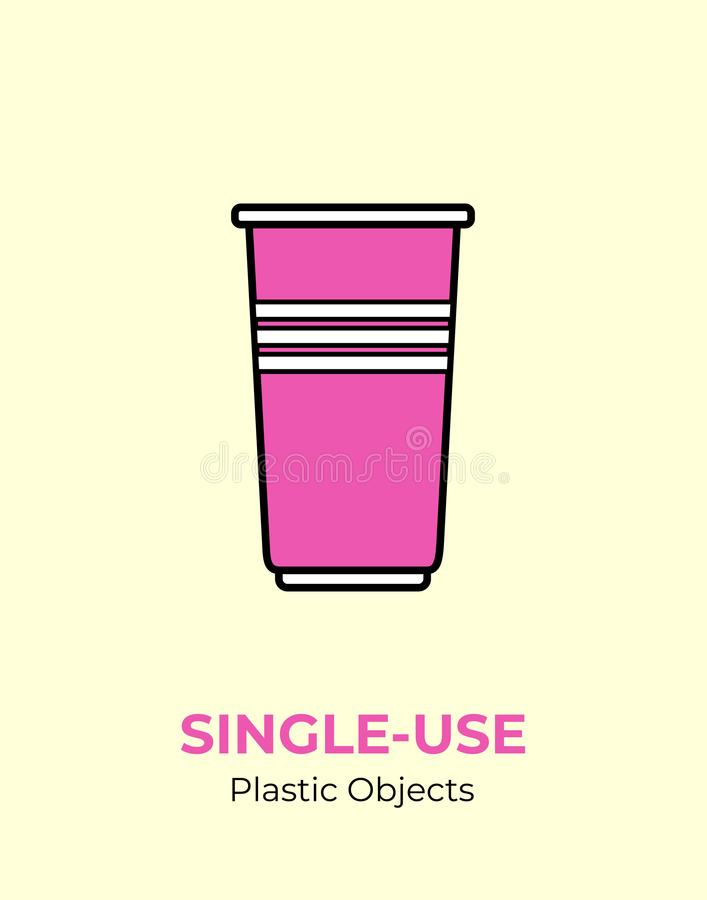 Single-use colored plastic cups. Vector illustration of recycling plastic item. Disposable plastic cup. royalty free illustration
