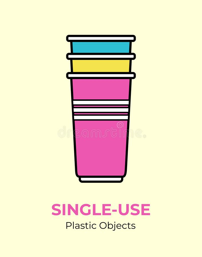 Single-use colored plastic cups. Vector illustration of recycling plastic item. Disposable plastic cup. stock illustration