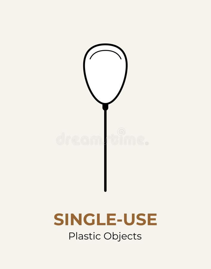 Single-use plastic stick in baloon. Vector illustration of recycling plastic item. Baloon plastic stick flat logo for ecological stock illustration