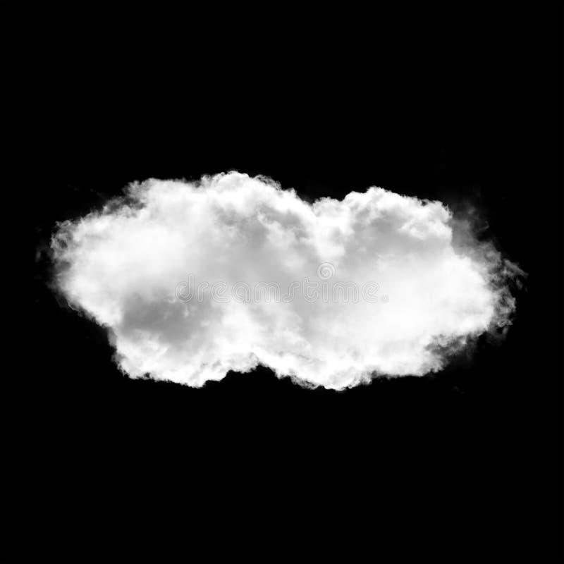 Single white cloud isolated over black background stock illustration