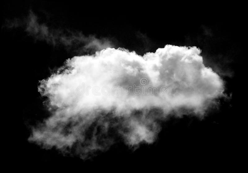 Single white cloud isolated over black background stock images