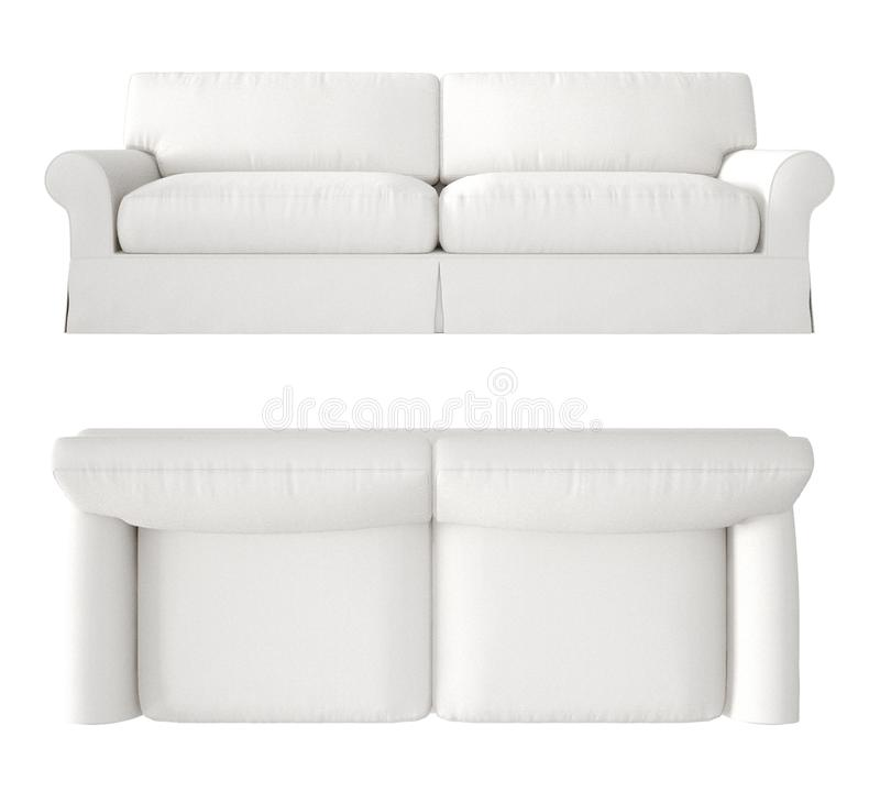 Single white fabric modern sofa isolated on blank background, top and front view, plan, above, contemporary furniture concept idea royalty free stock photo