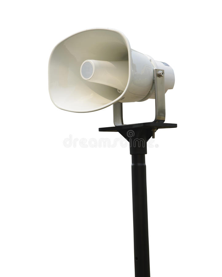 Single white megaphone with black pole isolate stock photos