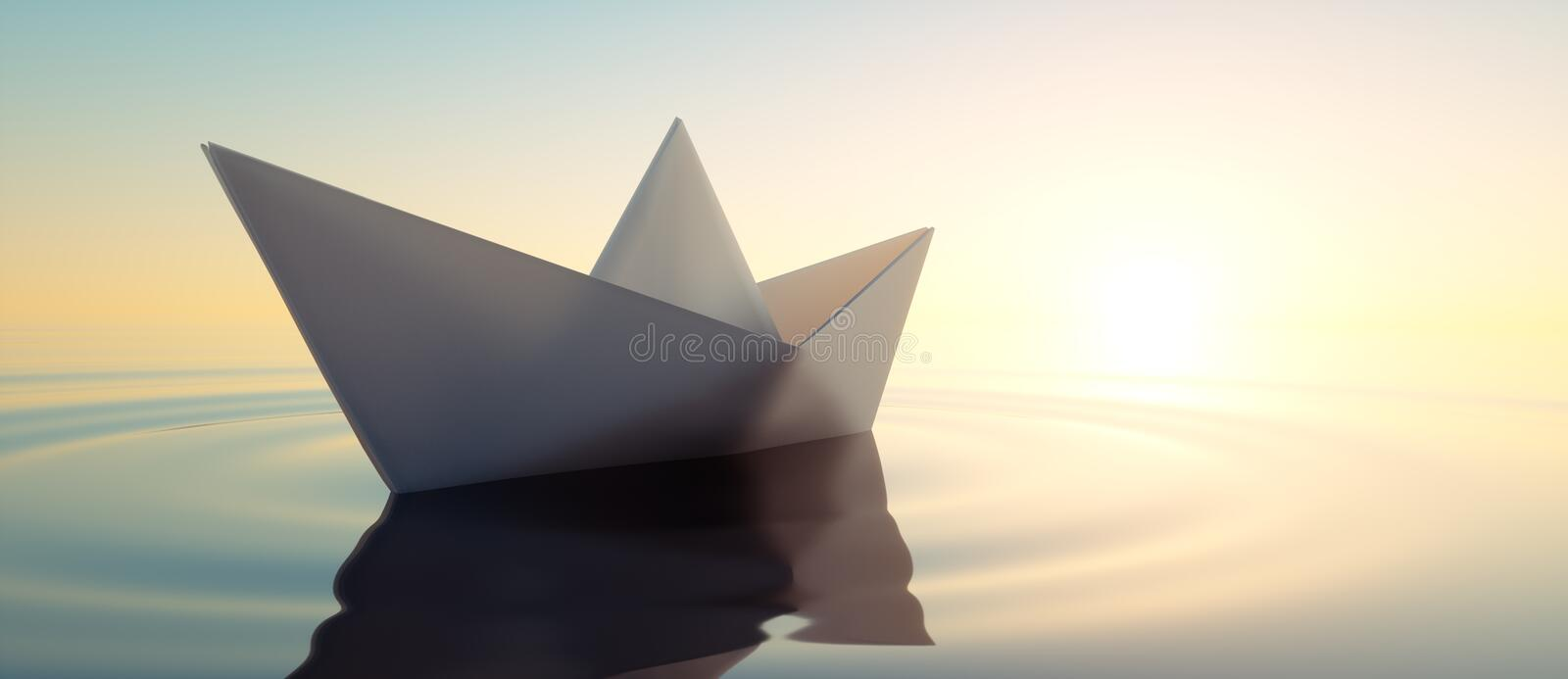 Closeup of a paperboat in a calm sea. Single white paperboat in calm water in the wide ocean  at sunset - concept of meditation - 3D illustration royalty free illustration