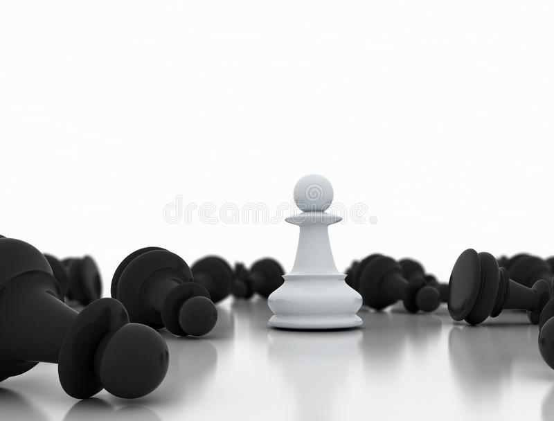 Single white pawn on a white background and  a number of fallen black chess pieces stock photo