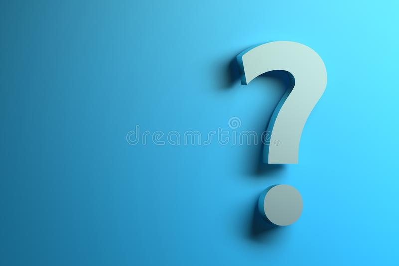 Single white question mark on the blue background. stock illustration