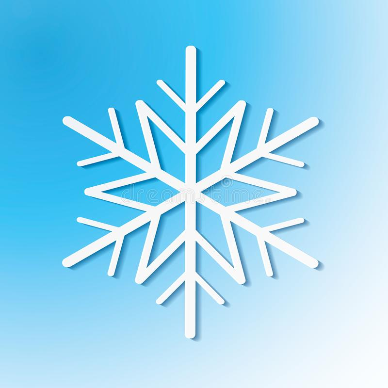 Single white snowflake on blue background. Vector eps10 illustration for winter holiday design vector illustration