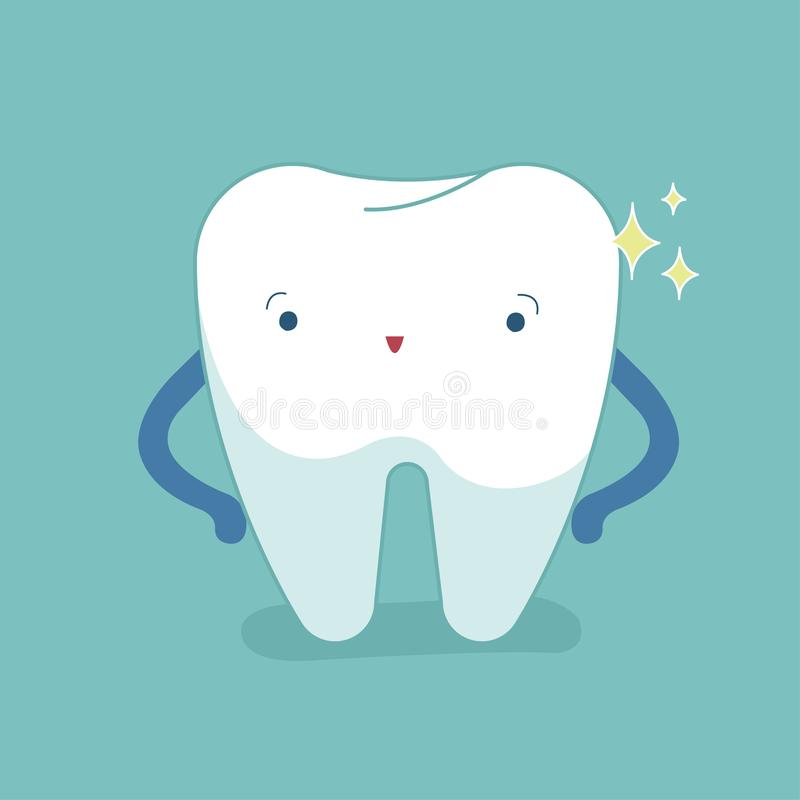 Single white tooth, healthy tooth, oral hygiene, vector modern. Flat cartoon character illustrator, blue background for care kid dentistry and dental concept stock illustration