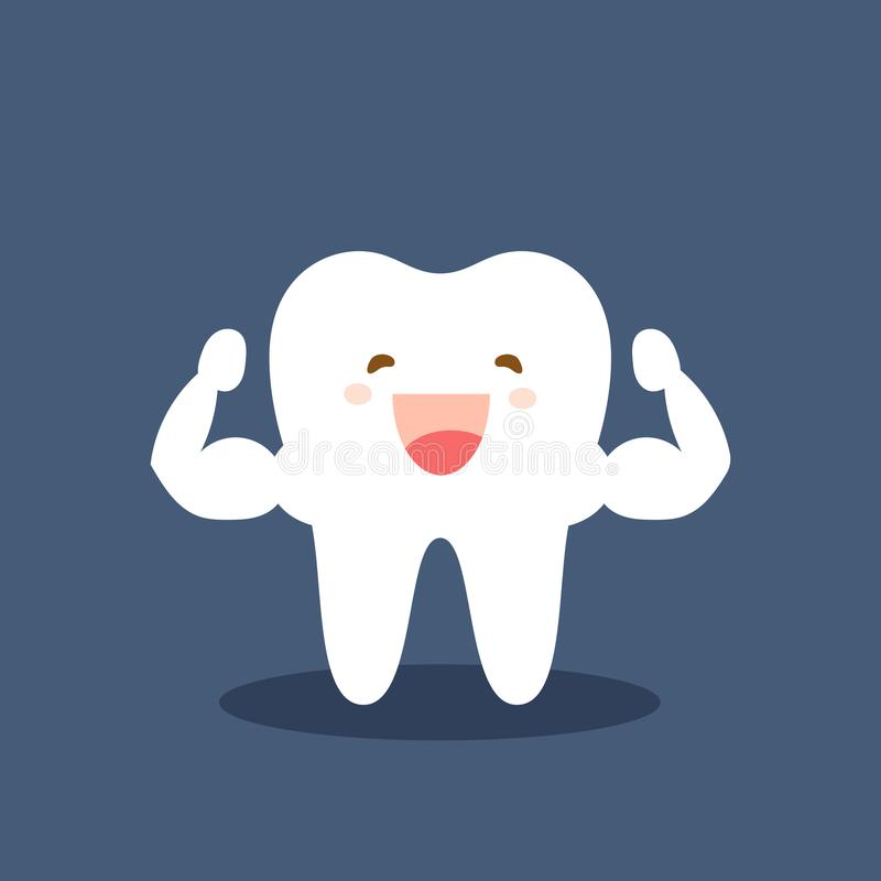 Single white and very strong muscle healthy tooth. Strong happy healthy white tooth character. Vector flat cartoon vector illustration