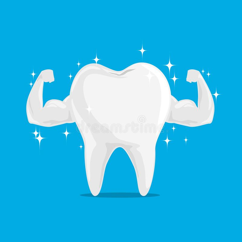 Single White and Very Strong Muscle Healthy Tooth. stock illustration
