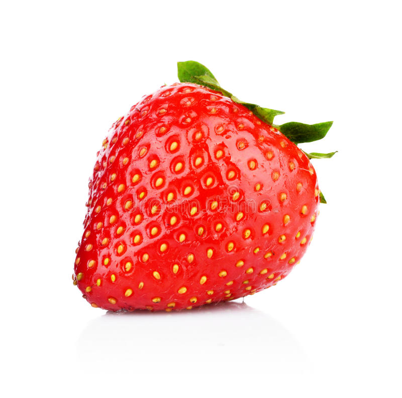 Single whole strawberry isolated stock photos