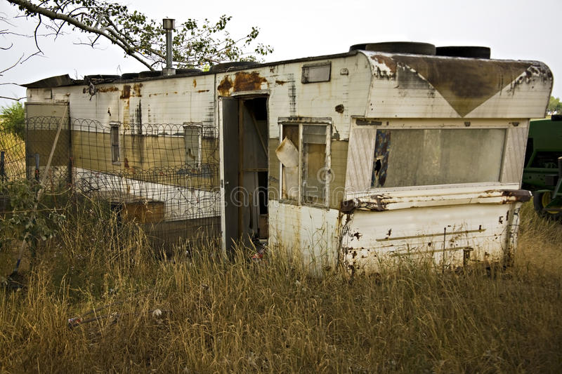 Single wide trailer house disrepair junk royalty free stock photography