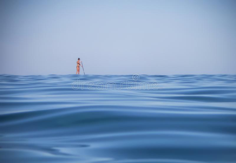 Single Woman Stand-Up Paddleboarding Low Angle View royalty free stock photography