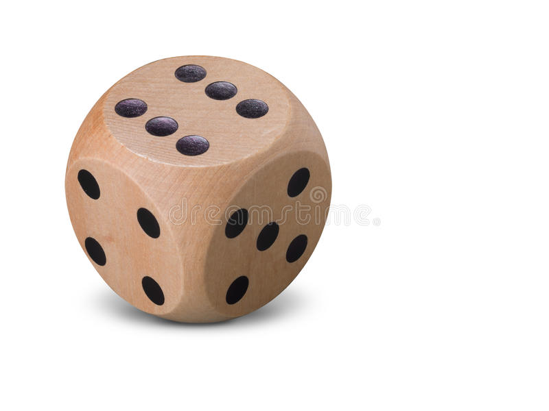 Single wooden Dice on white background royalty free stock photography