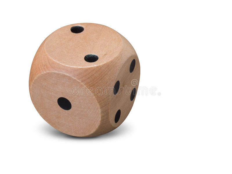 Single wooden Dice on white background royalty free stock photos