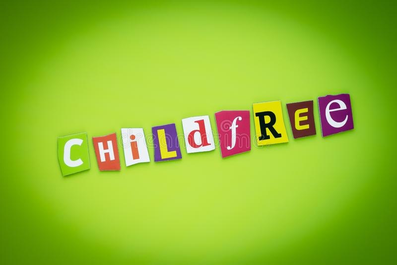 Single word - childfree. Multicolor inscription on banner. Text on yellow and green background of colorful letters. Headline on br stock illustration
