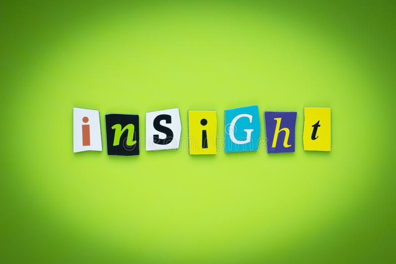 Single word - insight. Message on poster. Text on green background. Cutted colorful letters. Headline on bright card. Multicolor i. Nscription on banner royalty free illustration