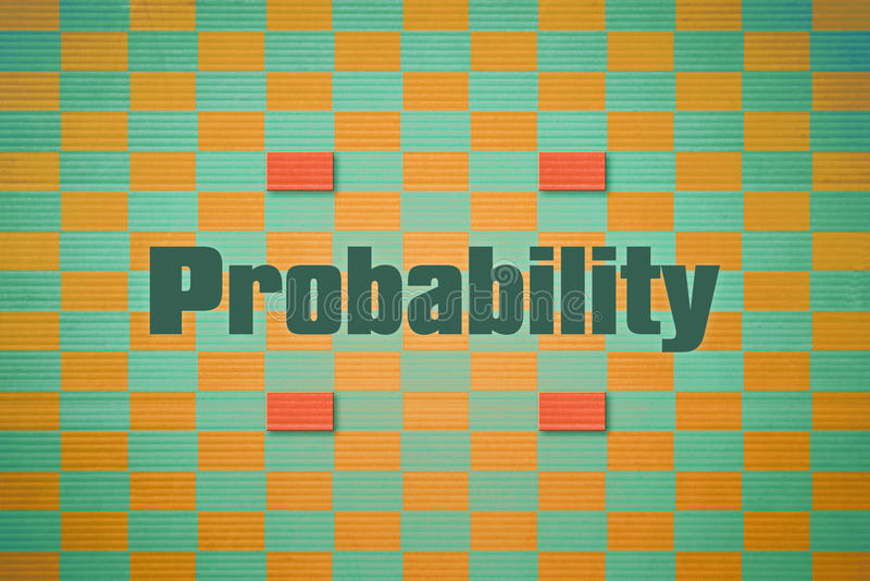 Single word Probability. Design which relates to the branch of mathematics named Probability stock illustration
