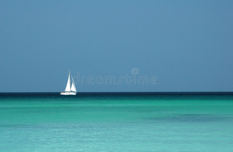 Download Single Yacht Sailing In Tropical Seas Stock Image - Image: 4250593