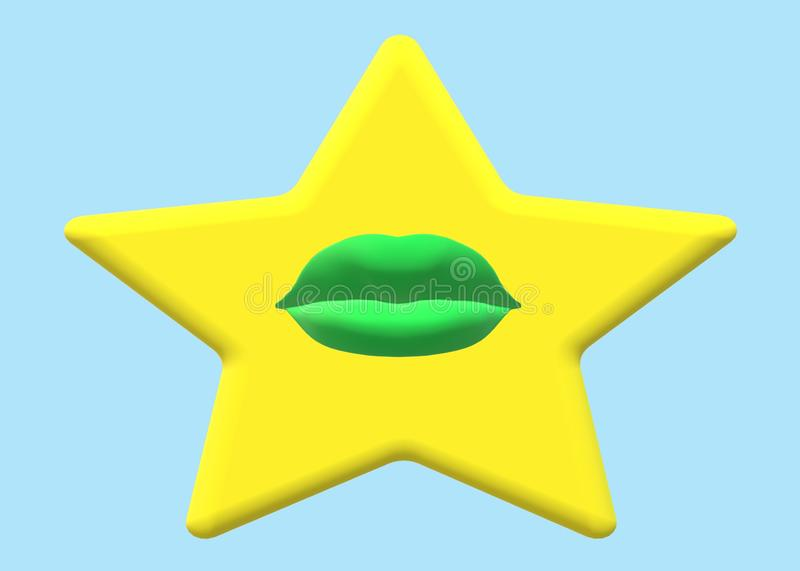 A single yellow golden star with a green lips in the center vector illustration