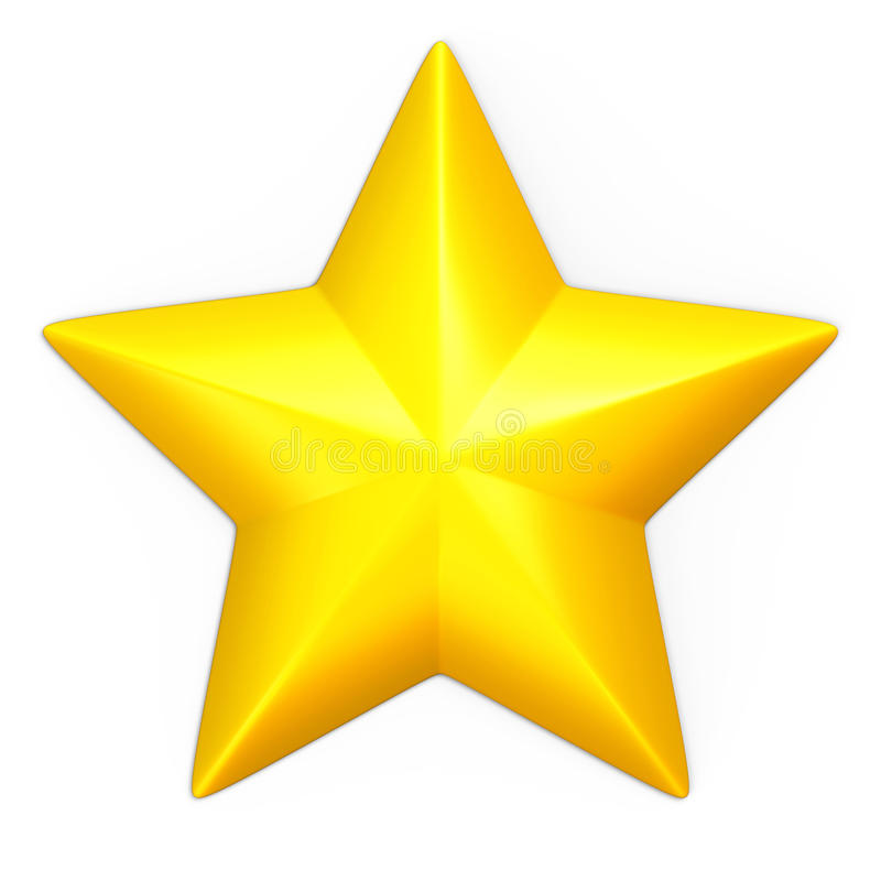 Single yellow star. Isolated on white royalty free illustration