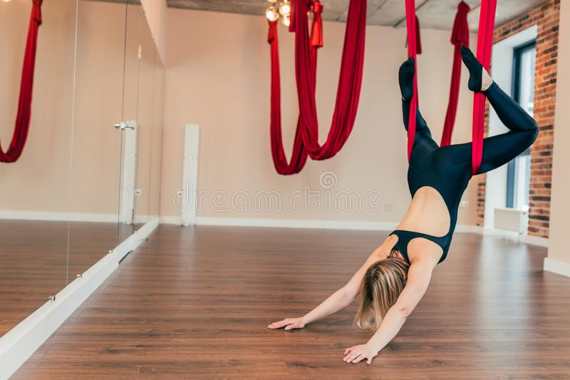 Single yogi woman doing aerial yoga practice in purple hammock in fitness club. Strong flexible sports woman practicing fly-yoga on red hammock stretching her royalty free stock photography