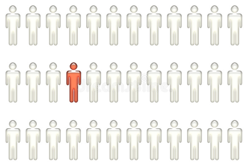 Singled Out - Different From Everyone. Concept on White Background vector illustration