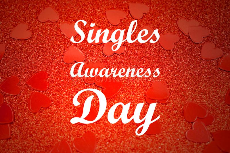 Singles Awareness Day Red Hearts background images. Red Singles Awareness Day glitter background. February 15, Singles Awareness Day. American holiday. Important stock photo