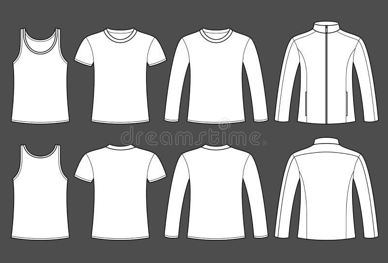 Singlet, koszulka, Sleeved koszulki i kurtki szablon royalty ilustracja