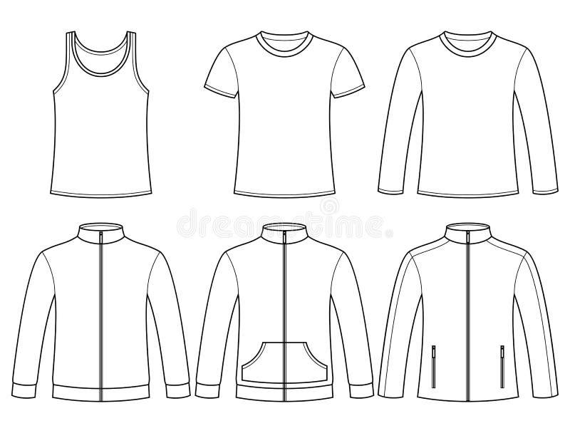 Singleten T-tröja, Lång-mufde T-tröja, tröja royaltyfri illustrationer
